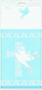 Kunststoff Tischdecke Christliches Fest, blau, 213x137cm