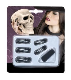 Schwarze Hexen-Fingernägel, 12er Pack