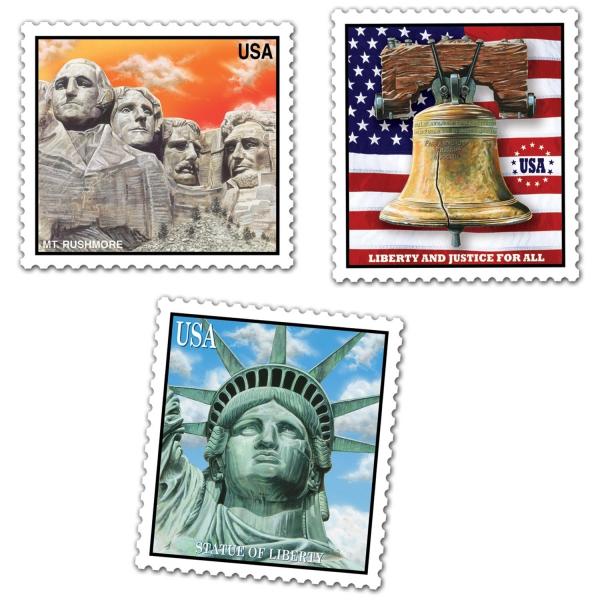 Party-Extra Cutout Set Amerikanische Briefmarken - USA Deko